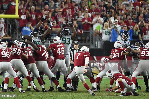 Kicker Chandler Catanzaro of the Arizona Cardinals kicks a 45 yard field goal during overtime against the Seattle Seahawks at University of Phoenix...