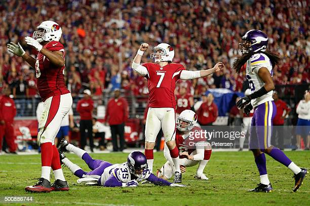 Kicker Chandler Catanzaro of the Arizona Cardinals kicks a 47 yard field goal against the Minnesota Vikings during the fourth quarter of the NFL game...