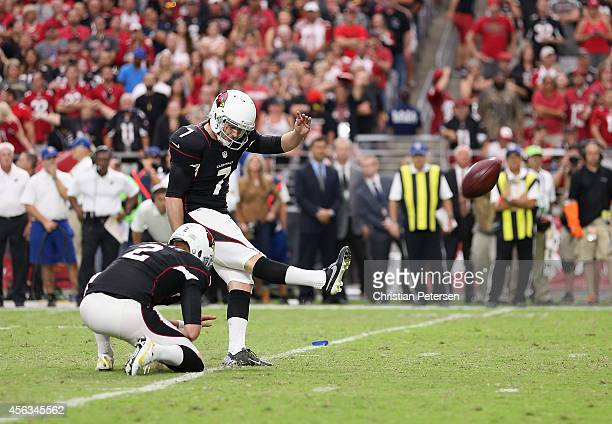 Kicker Chandler Catanzaro of the Arizona Cardinals kicks a field goal against the San Francisco 49ers during the NFL game at the University of...
