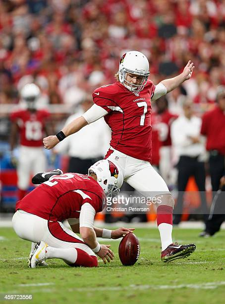 Kicker Chandler Catanzaro of the Arizona Cardinals kicks a field goal against the St Louis Rams during the NFL game at the University of Phoenix...