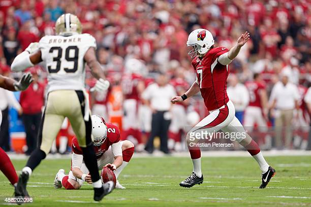 Kicker Chandler Catanzaro of the Arizona Cardinals kicks a field goal during the NFL game against the New Orleans Saints at the University of Phoenix...