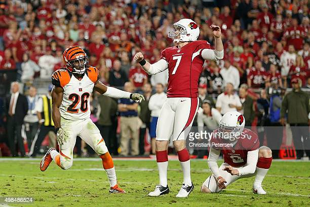 Kicker Chandler Catanzaro of the Arizona Cardinals kicks a field goal against the Cincinnati Bengals during the NFL game at the University of Phoenix...