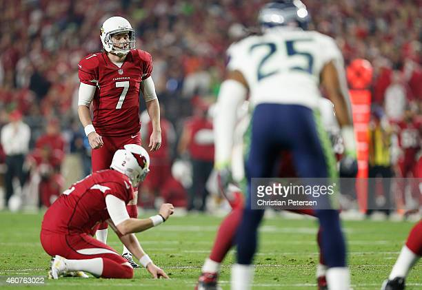 Kicker Chandler Catanzaro of the Arizona Cardinals lines up a field goal in the second quarter during the NFL game against the Seattle Seahawks at...