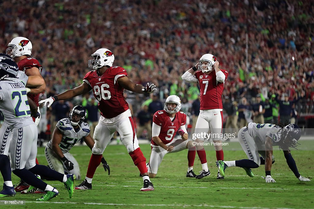 Kicker Chandler Catanzaro #7 of the Arizona Cardinals reacts after hitting the left upright to miss a field goal during overtime of the NFL game against the Seattle Seahawks at the University of Phoenix Stadium on October 23, 2016 in Glendale, Arizona. The Cardinals and Seahawks tied 6-6.