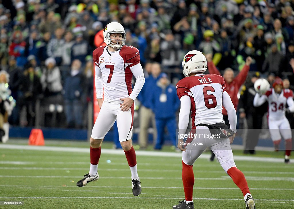 Kicker Chandler Catanzaro #7 of the Arizona Cardinals reacts after kicking the game-winning field goal against the Seattle Seahawks at CenturyLink Field on December 24, 2016 in Seattle, Washington.