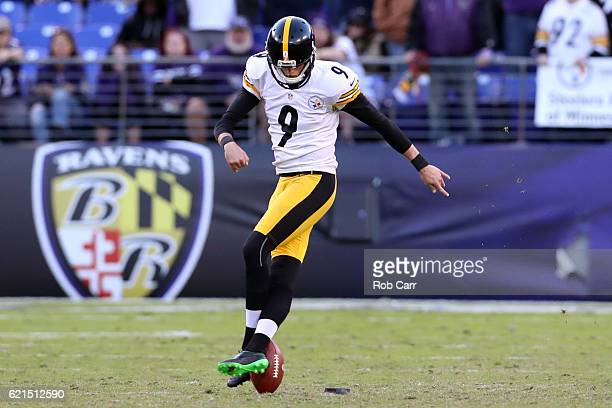 Kicker Chris Boswell of the Pittsburgh Steelers kicks the ball off in the fourth quarter against the Baltimore Ravens at MT Bank Stadium on November...