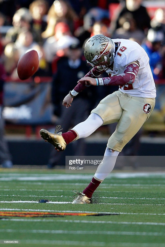 Kicker Dustin Hopkins #18 of the Florida State Seminoles kicks the ball off during the fourth quarter against the Maryland Terrapins at Byrd Stadium on November 17, 2012 in College Park, Maryland.