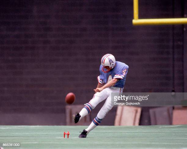 Kicker Florian Kempf of the Houston Oilers kicks off during a game against the Cincinnati Bengals at Riverfront Stadium on September 12 1982 in...