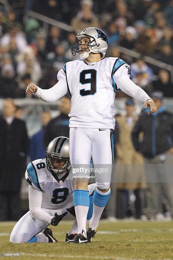 Kicker <a gi-track='captionPersonalityLinkClicked' href=/galleries/search?phrase=Graham+Gano&family=editorial&specificpeople=4483101 ng-click='$event.stopPropagation()'>Graham Gano</a> #9 of the Carolina Panthers kicks a field goal during a game against the Philadelphia Eagles on November 26, 2012 at Lincoln Financial Field in Philadelphia, Pennsylvania. The Panthers won 30-22.