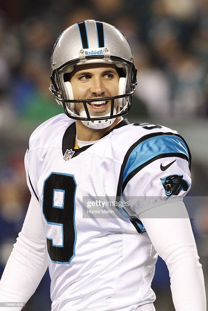 Kicker <a gi-track='captionPersonalityLinkClicked' href=/galleries/search?phrase=Graham+Gano&family=editorial&specificpeople=4483101 ng-click='$event.stopPropagation()'>Graham Gano</a> #9 of the Carolina Panthers walks off the field during a game against the Philadelphia Eagles on November 26, 2012 at Lincoln Financial Field in Philadelphia, Pennsylvania. The Panthers won 30-22.