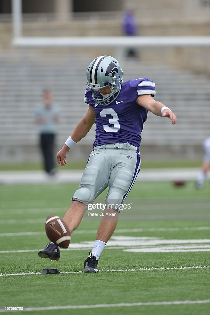 Kicker Jack Cantele #3 of the Kansas State Wildcats warms up before the Purple and White Spring Game on April 27, 2013 at Bill Snyder Family Stadium in Manhattan, Kansas.
