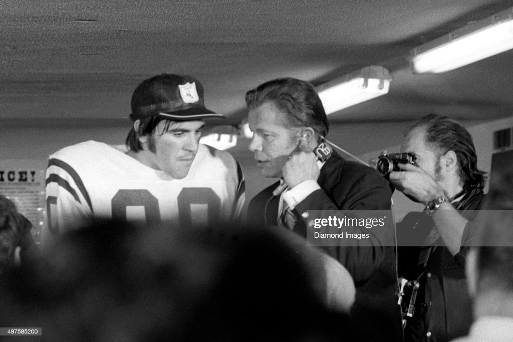 Kicker Jim O'Brien of the Baltimore Colts is interviewed by NBC after Super Bowl V against the Dallas Cowboys on January 17 1971 at the Orange Bowl...