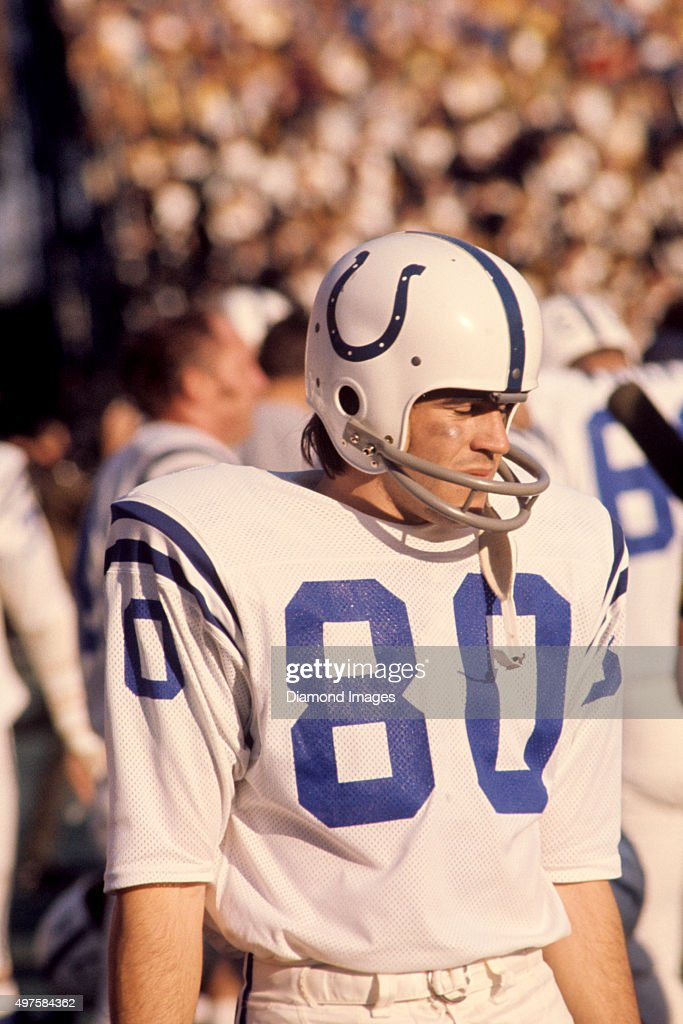 Kicker Jim O'Brien of the Baltimore Colts stands on the sideline during Super Bowl V against the Dallas Cowboys on January 17 1971 at the Orange Bowl...