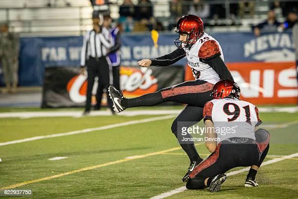 Kicker John Baron II of San Diego kicks a field goal against Nevada at Mackay Stadium on November 12 2016 in Reno Nevada