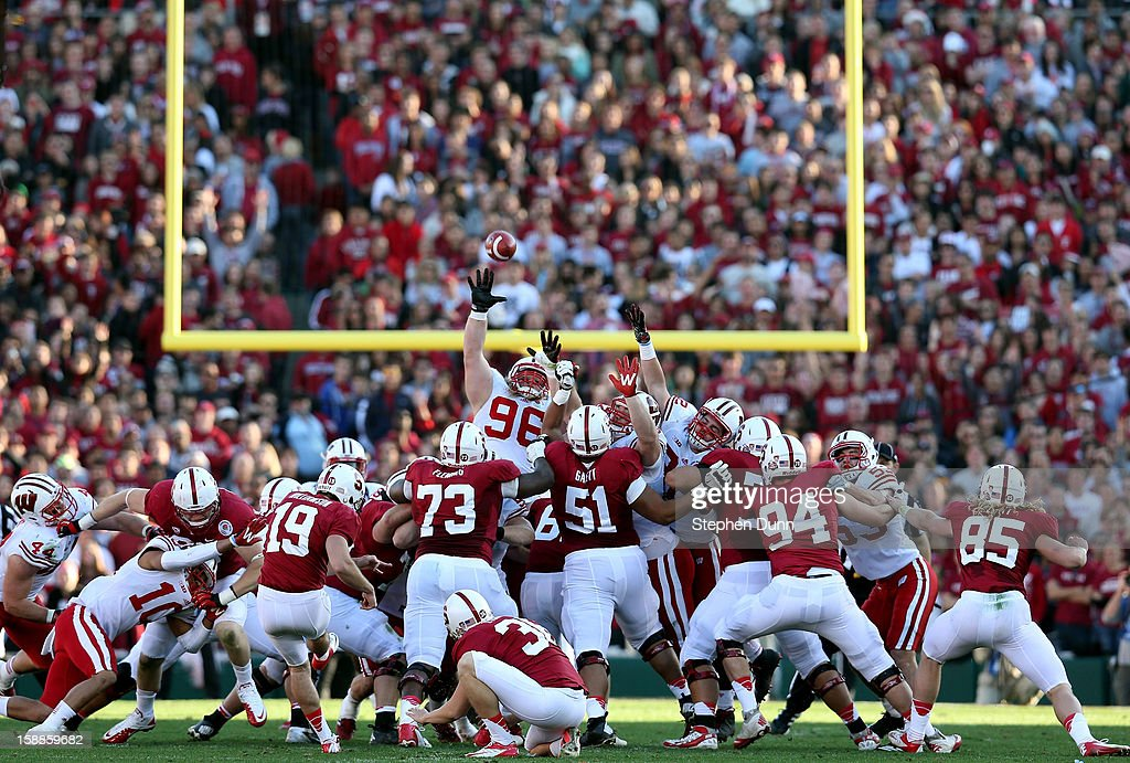 Kicker Jordan Williamson #19 of the Stanford Cardinal makes a 47-yard field goal in the first half against the Wisconsin Badgers in the 99th Rose Bowl Game Presented by Vizio on January 1, 2013 at the Rose Bowl in Pasadena, California.