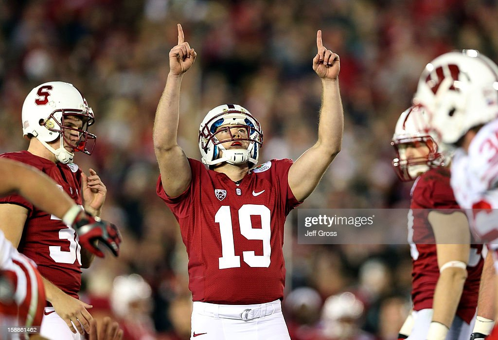 Kicker Jordan Williamson #19 of the Stanford Cardinal reacts after making a 22-yard field goal in the fourth quarter against the Wisconsin Badgers in the 99th Rose Bowl Game Presented by Vizio on January 1, 2013 at the Rose Bowl in Pasadena, California.