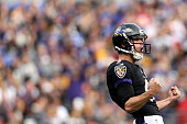 Kicker Justin Tucker of the Baltimore Ravens celebrates after kicking a 50yard field goal in the second quarter against the Pittsburgh Steelers at MT...