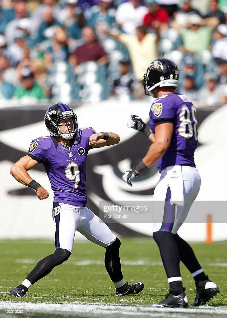 Kicker Justin Tucker #9 of the Baltimore Ravens reacts with teammate <a gi-track='captionPersonalityLinkClicked' href=/galleries/search?phrase=Dennis+Pitta&family=editorial&specificpeople=5516841 ng-click='$event.stopPropagation()'>Dennis Pitta</a> #88 after kicking a 56 yard-field goal against the Philadelphia Eagles during a game at Lincoln Financial Field on September 16, 2012 in Philadelphia, Pennsylvania. The Eagles defeated the Ravens 24-23.