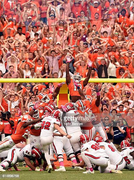 Kicker Kyle Bambard of the North Carolina State Wolfpack misses a last second field goal against the Clemson Tigers during the fourth quarter on...