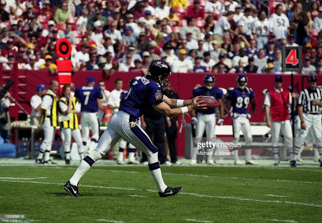 Kicker Kyle Richardson #5 of the Baltimore Ravens punts during a NFL game against the Washington Redskins at FedExField on October 15, 2000 in Landover, Maryland. The Redskins won 10 to 3.