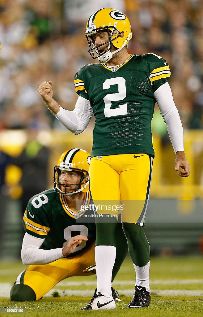 Kicker Mason Crosby #2 of the Green Bay Packers reacts after kicking a field goal against the Seattle Seahawks during the NFL game at Lambeau Field on September 20, 2015 in Green Bay, Wisconsin. The Packers defeated the Seahawks 27-17.