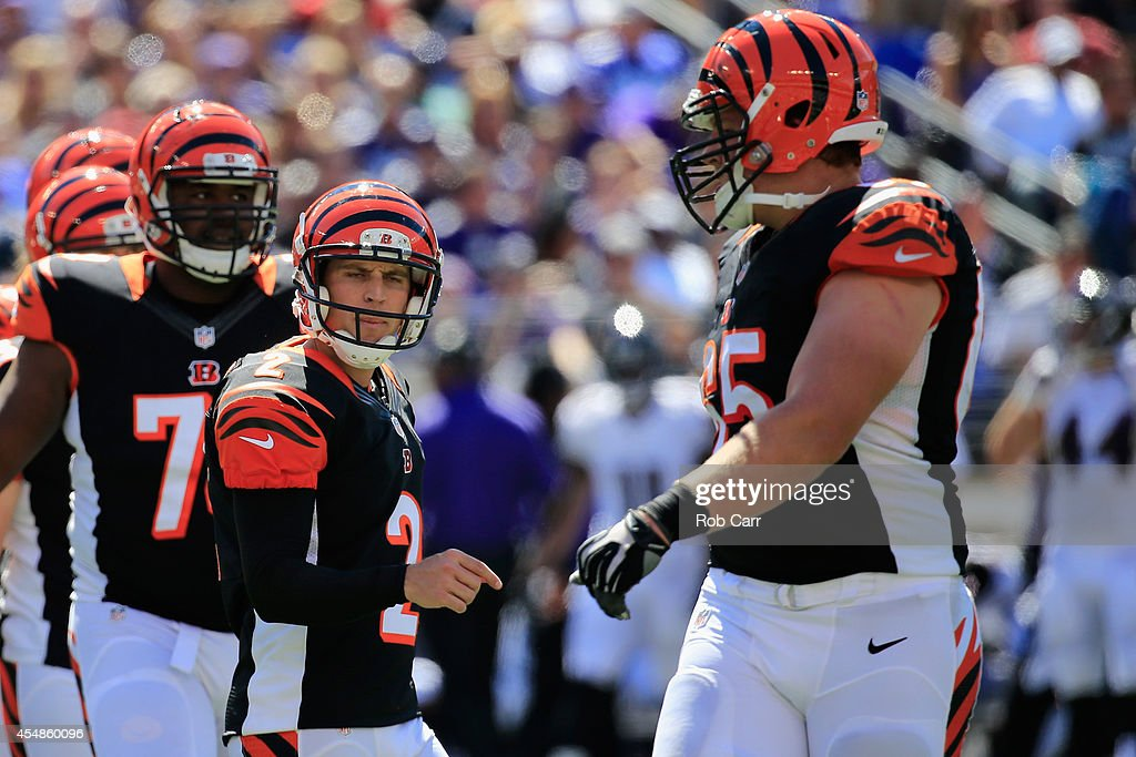 Kicker <a gi-track='captionPersonalityLinkClicked' href=/galleries/search?phrase=Mike+Nugent&family=editorial&specificpeople=2129451 ng-click='$event.stopPropagation()'>Mike Nugent</a> #2 of the Cincinnati Bengals reacts after kicking a field goal during an NFL football game against the Baltimore Ravens at M&T Bank Stadium on September 7, 2014 in Baltimore, Maryland.