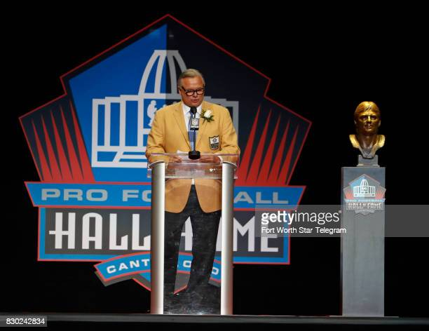 Kicker Morten Andersen during his acceptance speech The 2017 NFL Hall of Fame class including Dallas Cowboys owner Jerry Jones and former TCU running...