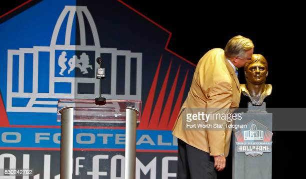 Kicker Morten Andersen kissing his Hall of Fame bust was introduced by his son Sebastian Andersen The 2017 NFL Hall of Fame class including Dallas...