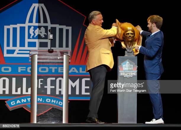 Kicker Morten Andersen uncovering his Hall of Fame bust was introduced by his son Sebastian Andersen The 2017 NFL Hall of Fame class including Dallas...