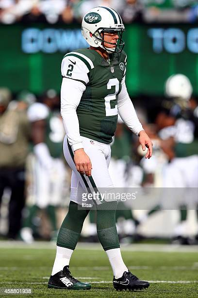Kicker Nick Folk of the New York Jets against the Pittsburgh Steelers during a game at MetLife Stadium on November 9 2014 in East Rutherford New...