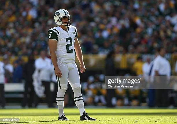 Kicker Nick Folk of the New York Jets during the NFL game against the Green Bay Packers at Lambeau Field on September 14 2014 in Green Bay Wisconsin...