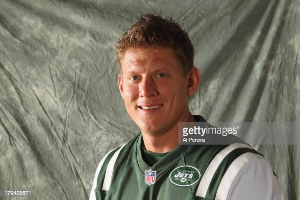 Kicker Nick Folk of the New York Jets poses during a portrait session on September 1 2013 in Florham Park New Jersey