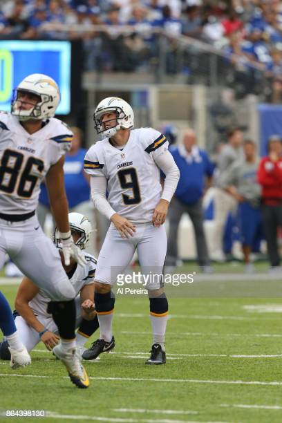 Kicker Nick Novak of the Los Angeles Chargers in action against the New York Giants during an NFL game at MetLife Stadium on October 8 2017 in East...