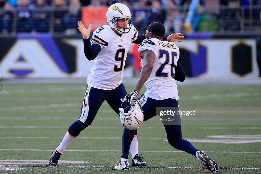 Kicker <a gi-track='captionPersonalityLinkClicked' href=/galleries/search?phrase=Nick+Novak&family=editorial&specificpeople=773029 ng-click='$event.stopPropagation()'>Nick Novak</a> #9 of the San Diego Chargers celebrates with cornerback <a gi-track='captionPersonalityLinkClicked' href=/galleries/search?phrase=Brandon+Flowers+-+American+Football+Player&family=editorial&specificpeople=7270342 ng-click='$event.stopPropagation()'>Brandon Flowers</a> #26 after a late second quarter field goal against the Baltimore Ravens at M&T Bank Stadium on November 30, 2014 in Baltimore, Maryland.