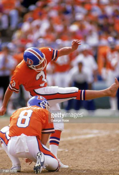 Kicker Rich Karlis of the Denver Broncos attempts a field goal during a game against the Seattle Seahawks at Mile High Stadium on September 13 1987...