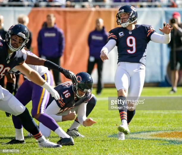 Kicker Robbie Gould converts a 55yard field goal for the Chicago Bears on November 1 against the Minnesota Vikings at Soldier Field in Chicago