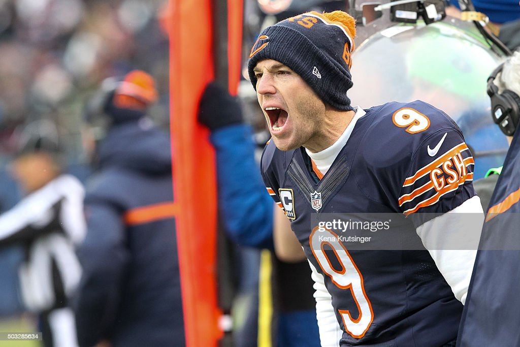 Kicker Robbie Gould #9 of the Chicago Bears gives instruction to teammate in the second quarter against the Detroit Lions at Soldier Field on January 3, 2016 in Chicago, Illinois. The Detroit Lions defeat the Chicago Bears 24 to 20.