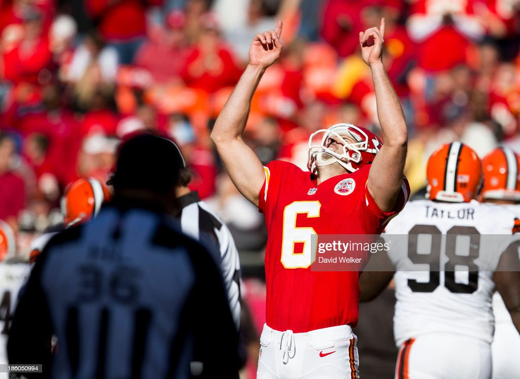 Kicker <a gi-track='captionPersonalityLinkClicked' href=/galleries/search?phrase=Ryan+Succop&family=editorial&specificpeople=4032420 ng-click='$event.stopPropagation()'>Ryan Succop</a> #6 of the Kansas City Chiefs celebrates after kicking a field goal during the game against the Cleveland Browns at Arrowhead Stadium on October 27, 2013 in Kansas City, Missouri.