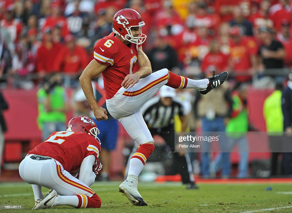 Kicker Ryan Succop #6 of the Kansas City Chiefs kicks a 22-yard field goal against the Houston Texans during the second half on October 20, 2013 at Arrowhead Stadium in Kansas City, Missouri. Kansas City won 17-16.