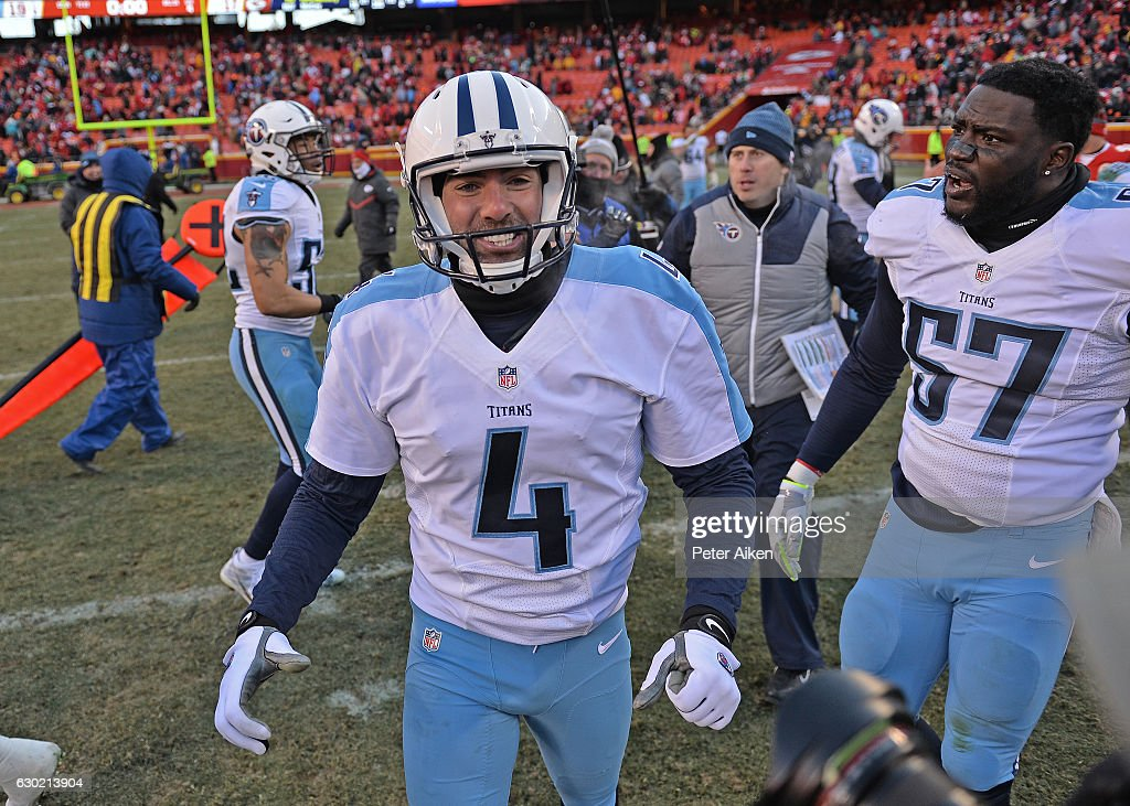 Kicker Ryan Succop #4 of the Tennessee Titans reacts after kicking the winning field goal to beat the Kansas City Chiefs 19-17 on December 18, 2016 at Arrowhead Stadium in Kansas City, Missouri.
