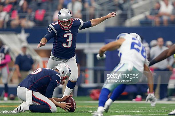 Kicker Stephen Gostkowski of the New England Patriots kicks a field goal against the Dallas Cowboys during the first half of the NFL game at ATT...