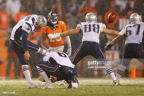 Kicker Stephen Gostkowski of the New England Patriots kicks a fourth quarter field goal against the Denver Broncos to tie the game at Sports...
