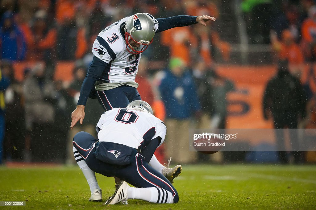 Kicker <a gi-track='captionPersonalityLinkClicked' href=/galleries/search?phrase=Stephen+Gostkowski&family=editorial&specificpeople=567502 ng-click='$event.stopPropagation()'>Stephen Gostkowski</a> #3 of the New England Patriots kicks a point after a touchdown as punter <a gi-track='captionPersonalityLinkClicked' href=/galleries/search?phrase=Ryan+Allen+-+American+Football-speler&family=editorial&specificpeople=11347226 ng-click='$event.stopPropagation()'>Ryan Allen</a> #6 place holds against the Denver Broncos at Sports Authority Field at Mile High on November 29, 2015 in Denver, Colorado. The Broncos beat the Patriots 30-24 in overtime.