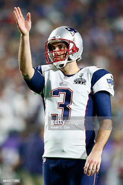 Kicker Stephen Gostkowski of the New England Patriots points against the Seattle Seahawks during Super Bowl XLIX at University of Phoenix Stadium on...