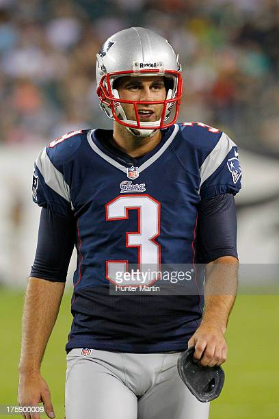 Kicker Stephen Gostkowski of the New England Patriots stands on the sideline during a preseason game against the Philadelphia Eagles on August 9 2013...