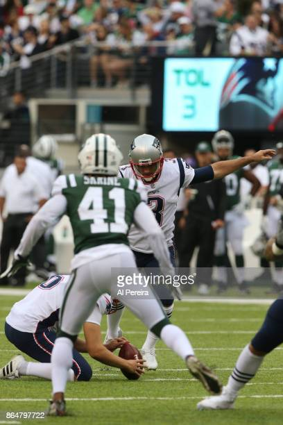 Kicker Stephen Gostkowski the New England Patriots in action against the New York Jets during their game at MetLife Stadium on October 15 2017 in...