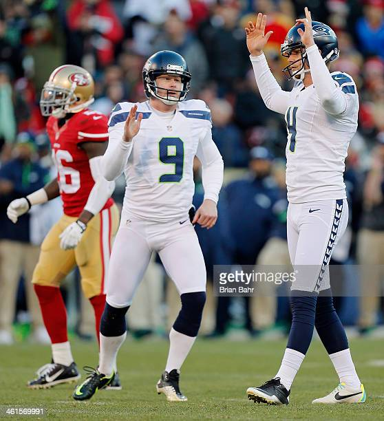 Kicker Steven Hauschka of the Seattle Seahawks celebrates after a 31yard field goal to make the score 1716 with 620 left against the San Francisco...