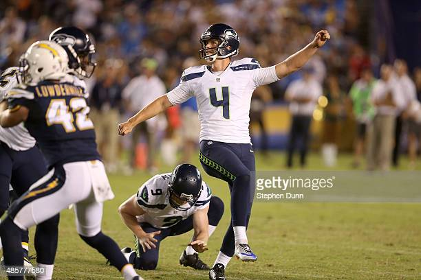 Kicker Steven Haushcka of the Seattle Seahawks watches his 60 yard game winning field goal with 21 seconds left in the game out of the hold of Jon...