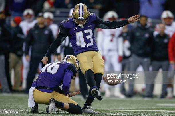 Kicker Tristan Vizcaino of the Washington Huskies kicks the winning field goal to beat the Utah Utes 3330 at Husky Stadium on November 18 2017 in...