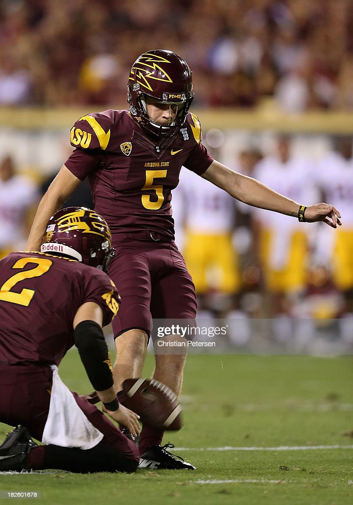 Kicker Zane Gonzalez #5 of the Arizona State Sun Devils kicks a field goal against the USC Trojans during the college football game at Sun Devil Stadium on September 28, 2013 in Tempe, Arizona. The Sun Devils defeated the Trojans 62-41.